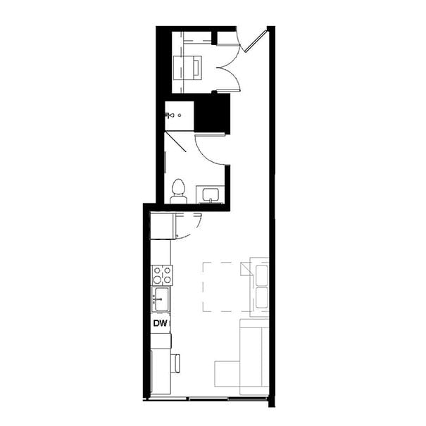 Rendering for Murphy Studio B floor plan