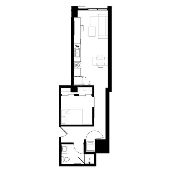 Rendering for 1x1 D floor plan