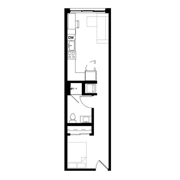 Rendering for Studio A floor plan