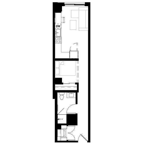 Rendering for 1x1 C floor plan