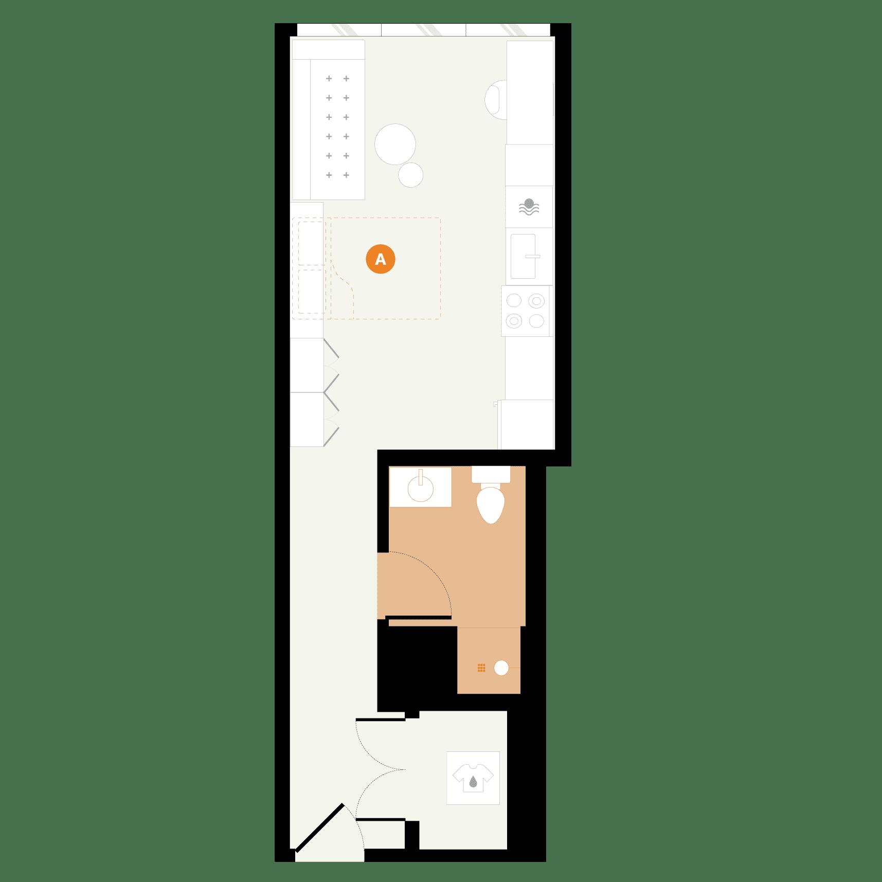 Rendering for Murphy Studio B floor plan
