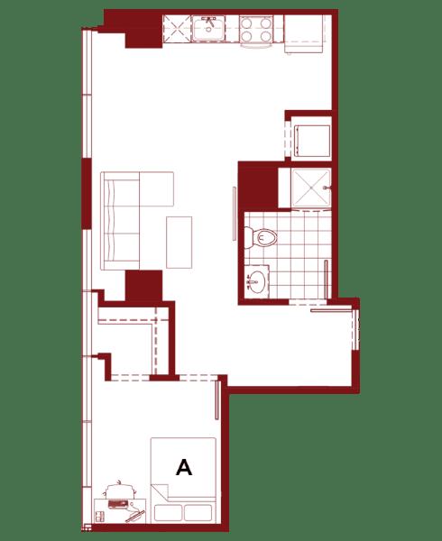 Rendering for 1x1 K floor plan