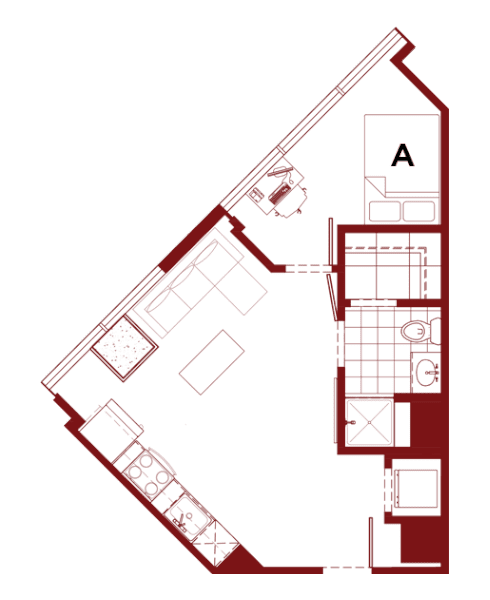 Rendering for 1x1 C floor plan