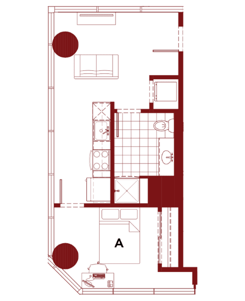 Rendering for 1x1 E floor plan