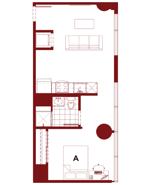 Rendering for 1x1 F floor plan