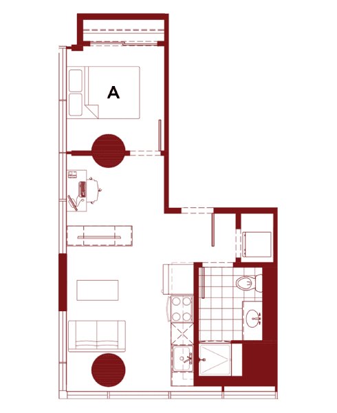 Rendering for 1x1 G floor plan