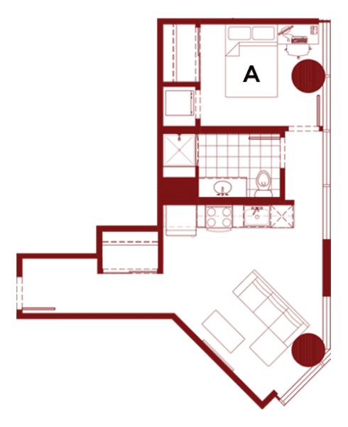 Rendering for 1x1 H floor plan