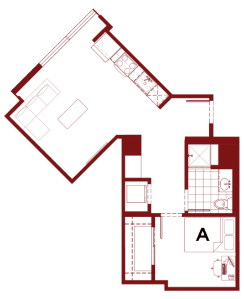 Rendering for 1x1 I floor plan