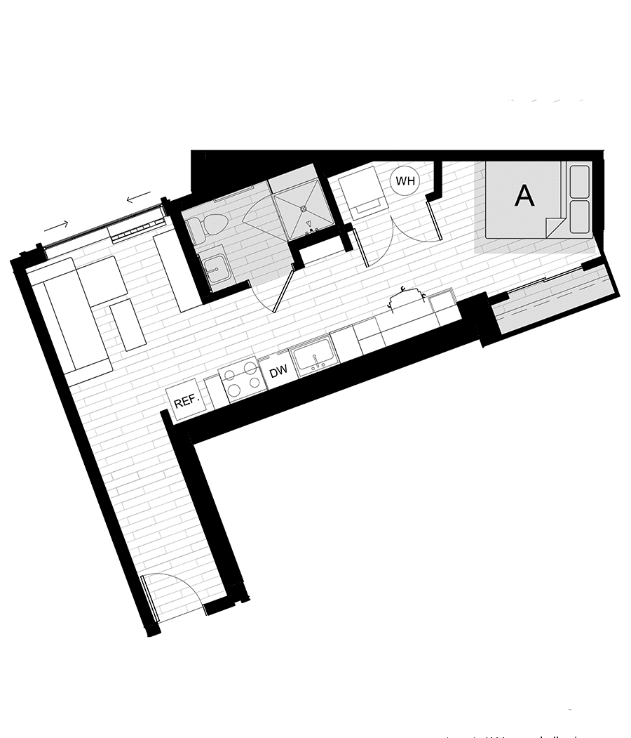 Rendering for Studio D floor plan