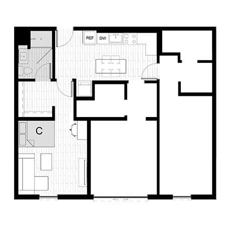 Rendering for 3x3 Studio C floor plan