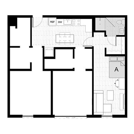 Rendering for 3x3 Studio A floor plan