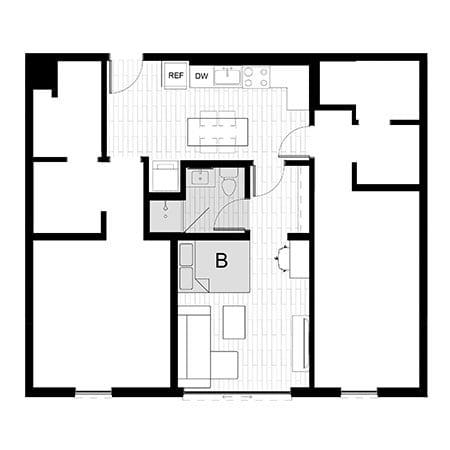 Rendering for 3x3 Studio B floor plan