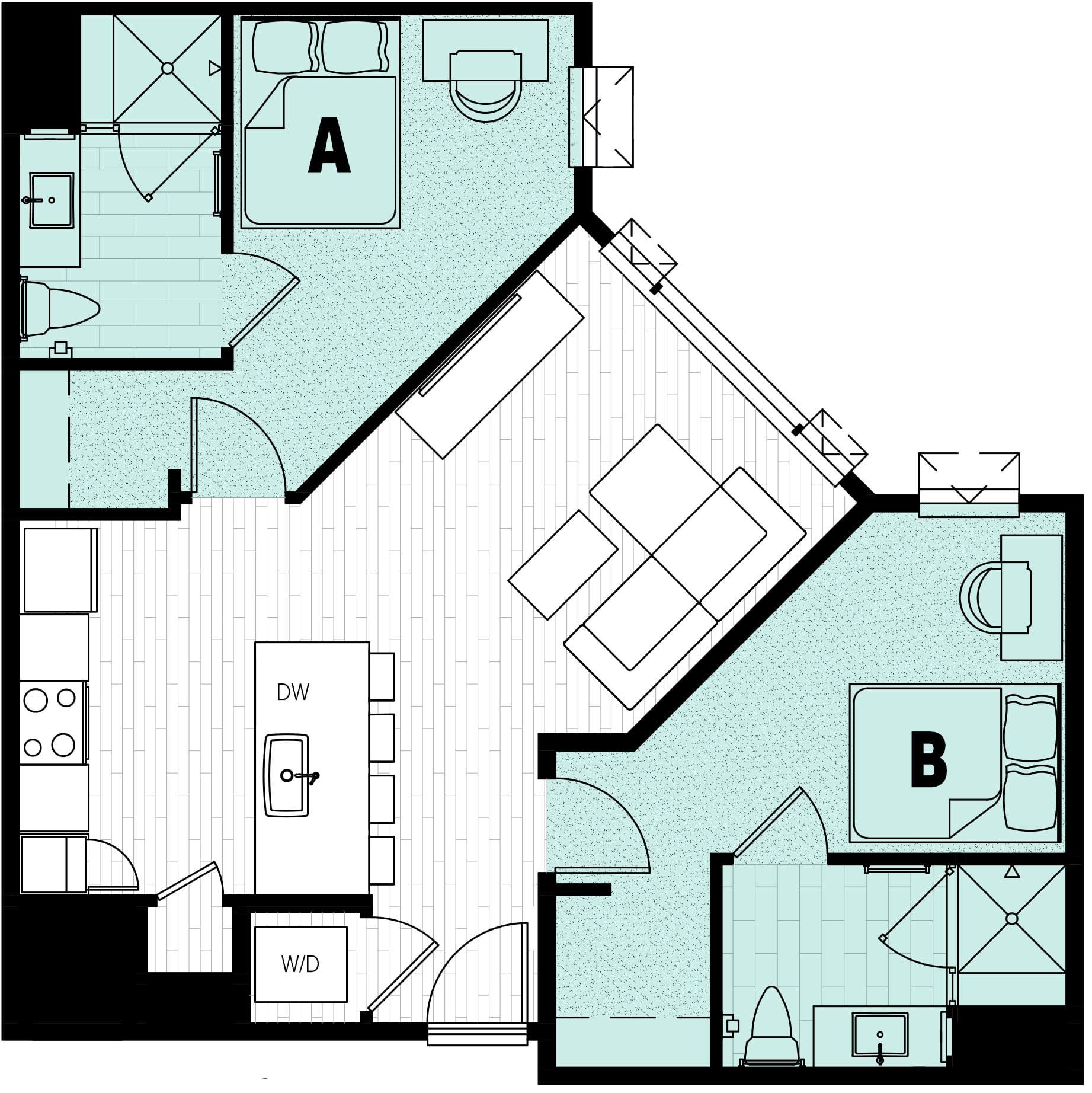 Rendering for 2x2 floor plan