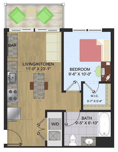 Rendering for 1 X 1 floor plan