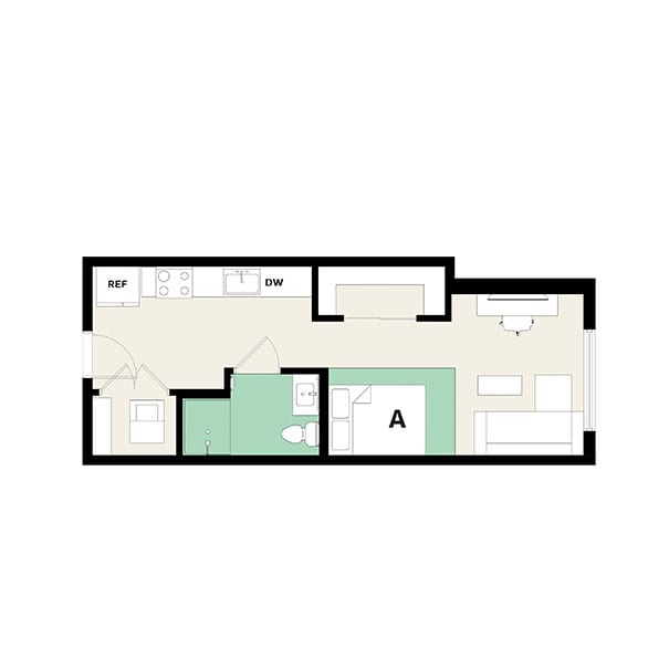 Rendering for Studio B floor plan
