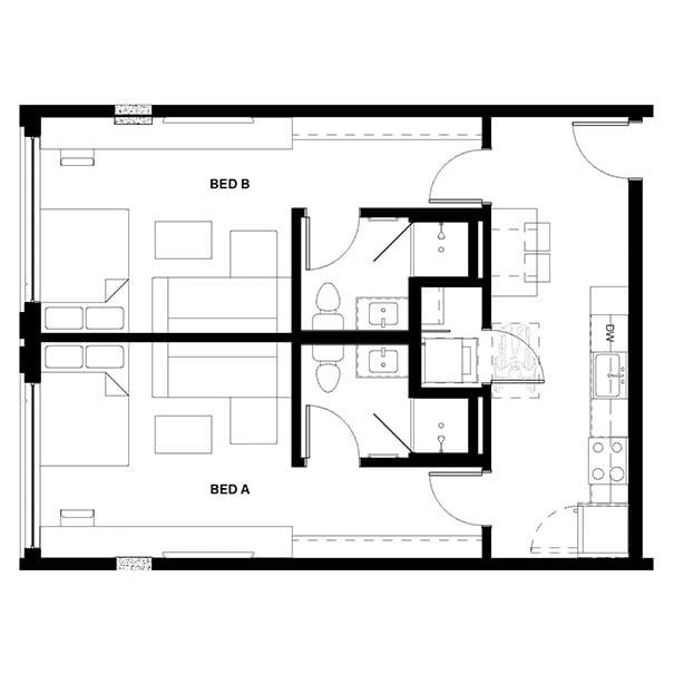 Rendering for 2x2 Studio floor plan