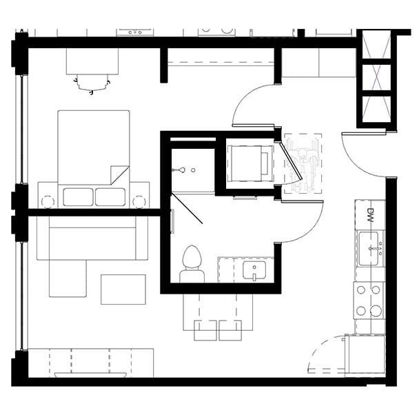 Rendering for 1x1C floor plan