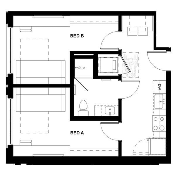 Rendering for 2x1 Murphy floor plan