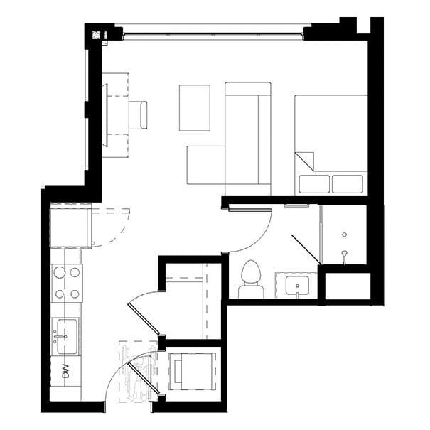 Rendering for Studio A floor plan