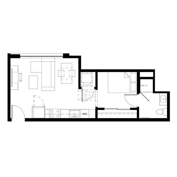 Rendering for 1x1 A floor plan
