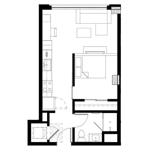 Rendering for 1x1 B floor plan