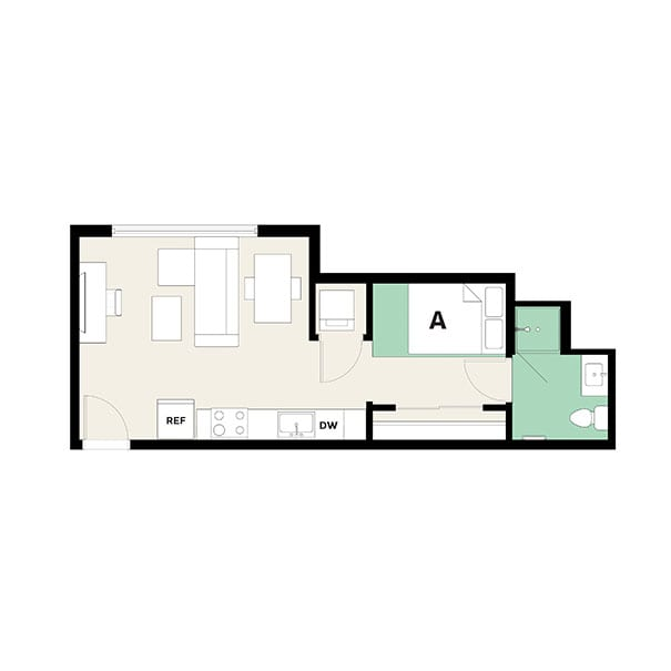 Rendering for 1x1 A floor plan