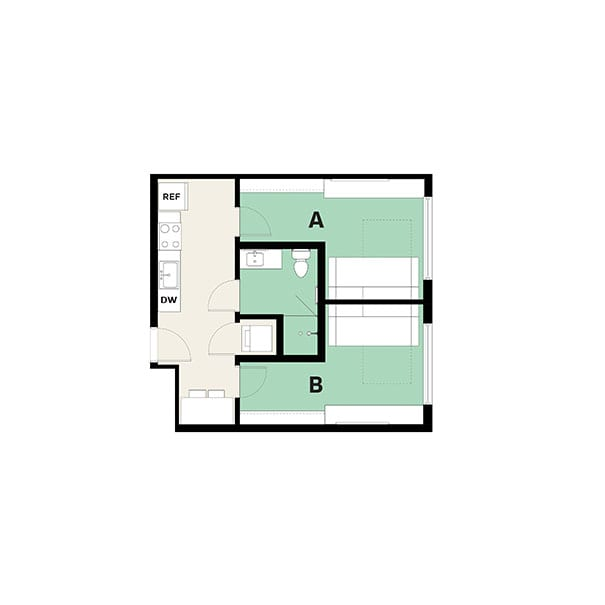 Rendering for 2x1 Murphy floor plan