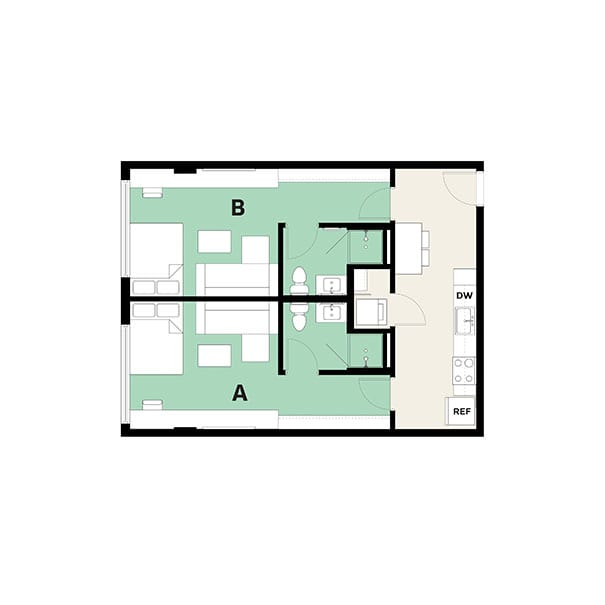 Rendering for 2x2 Studio floor plan
