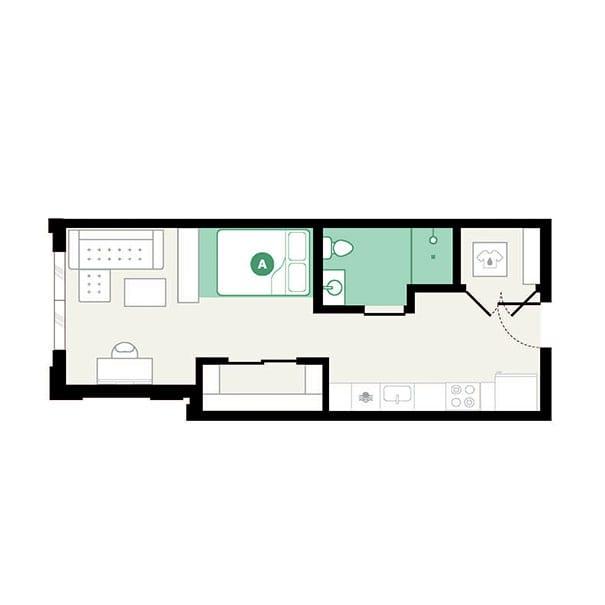 Rendering for Studio B floor plan