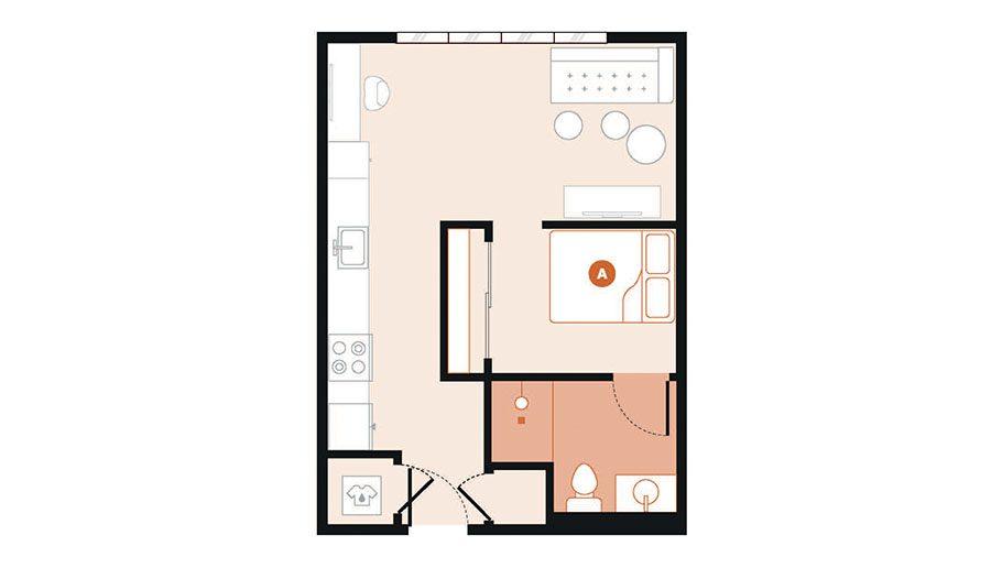 Rendering for Studio E floor plan
