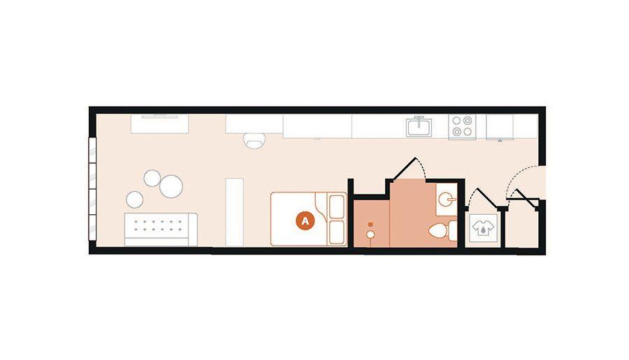 Rendering for Studio F floor plan
