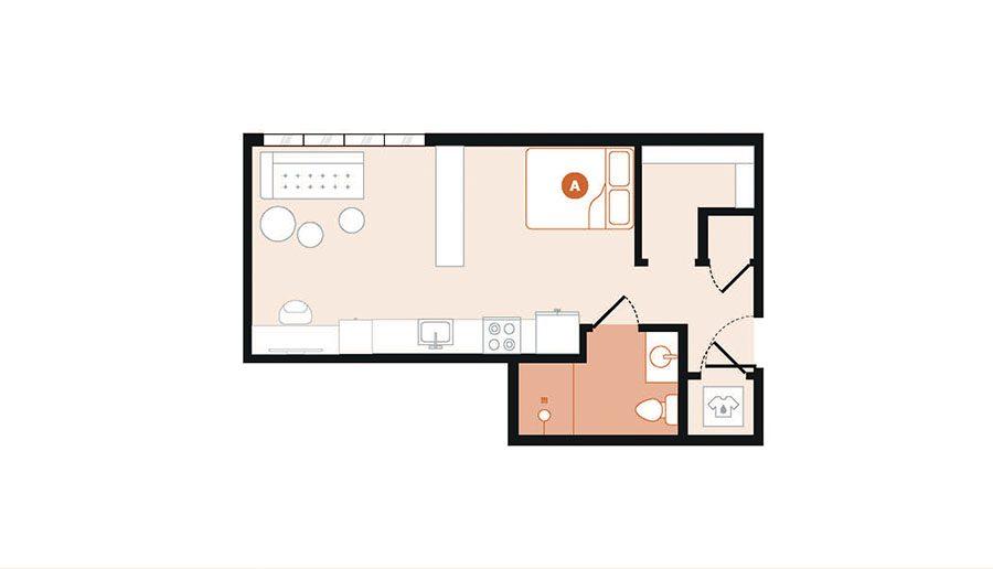 Rendering for Studio C floor plan
